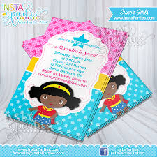 superheroes birthday party invitations wonder woman invitations african american birthday party invitation