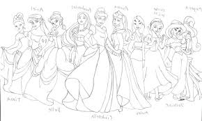 Printable Disney Princess Group Coloring Pages For Kids