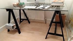 ikea glass table desk glasholm oddvald glass fingerprint pattern black