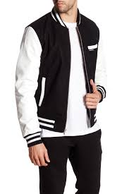 image of members only faux leather sleeve varsity jacket