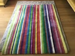 ikea striped multicolour rainbow rug strib 100 wool 140x200cm