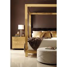 Regency Bedroom Furniture Astoria Hollywood Regency Brass Upholstered King Canopy Bed