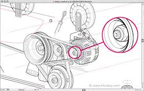 automotive illustration tutorial how to draw a car cutaway engine fan belts pulleys alternator