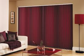 dark plum fabric vertical blinds for sliding glass door covering plus red shade floor lamp hanging on mocha wall theme