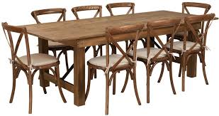 hercules folding farm table set 40 x96 antique rustic with 8 cross back chairs and cushions