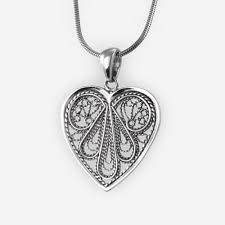 filigree heart pendant casting in sterling silver