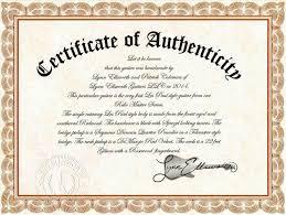 Certificate Of Authenticity Autograph Template Filename Elrey De Bodas