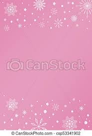 Pink Color Template Background With Snowflake And Snow Border