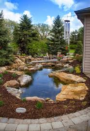 lush landscaping ideas. Backyard Water Feature | Enjoy Your Patio - Complete With A Fire Pit, Lush Landscaping Ideas C