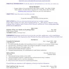 Resume For On Campus Jobs Example Of Resume For Teenager Literarywondrous Template How To 54
