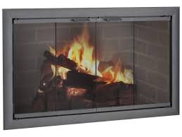 image of fireplace glass doors gray color