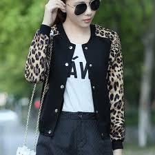 Baseball Basic Leopard 2018 Flower Print Plus Size Baseball Basic Womens Jacket