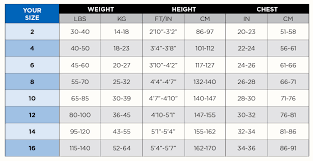 Wetsuit Size Chart Child Bare 2mm Velocity Shorty Kids