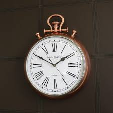 large copper stop watch style wall