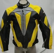 teknic yellow black perforated lined leather motorcycle jacket size 58