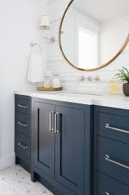 blue bathroom vanity cozy popular colors terranean white interior paint toliet bright hexagon tile maple wood