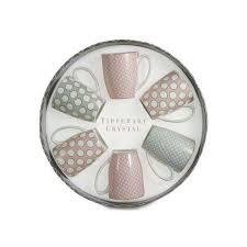 set 6 bone china mugs spots pink grey from tipperary crystal