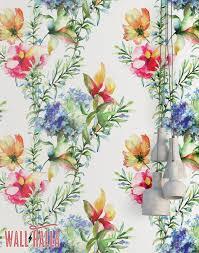 Aquarel Bloemen Behang Verwisselbare Wallpaper Tropische Etsy