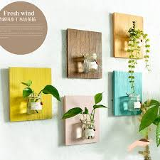wooden wall hanging plant terrarium glass planter container creative home wall decoration entryway hallway living room