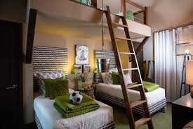 Stunning contemporary kids loft bed features kids room decor green