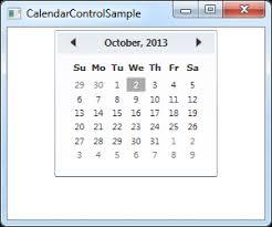 Sundays Only Calendar The Calendar Control The Complete Wpf Tutorial