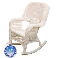 sanibel white resin wicker rocker