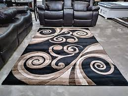 exclusive hand carved rugs 5x8 modern abstract brown black tan area rug new