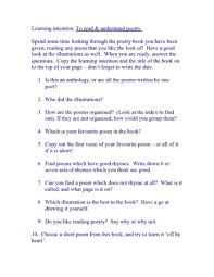 Poetry Reading Questions Teaching Ideas