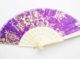 Pretty Folding Hand Fan With Print Designs Free Name