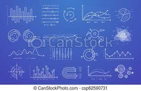 Modern Charts And Graphs Linear Graph Chart Thin Line Charts Modern Statistics Graphs And Circular Bar Progress Presentation Diagram Isolated Vector Set