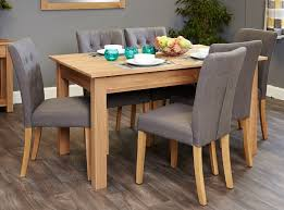 baumhaus mobel solid oak fully. Baumhaus Mobel Oak Dining Set With 6 Flare Back Grey Upholstered Chairs Solid Fully