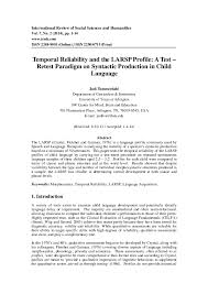 Syntactic Development Chart Pdf Temporal Reliability And The Larsp Profile A Test