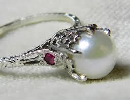 platinum pearl engagement ring unique engagement genuine pearl engagement ring 7 mm pearl pink sapphire ring platinum ring june birthday