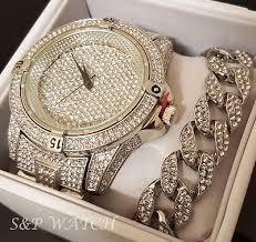 mens techno pave hip hop iced out diamond silver watch n mens hip hop iced out rapper bling white gold pt watch n bracelet gift set