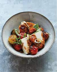 silken tofu with soy sauced tomatoes
