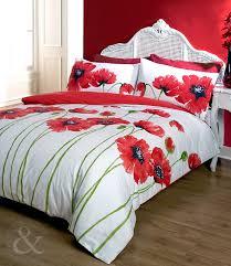 poppy bedding red cream duvet cover fl bed set double