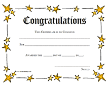 Congratulations Certificates Templates Printable Congratulations Award Certificates Templates
