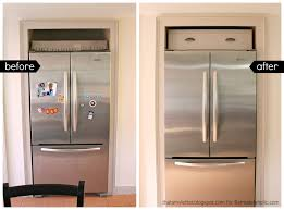 Remodelaholic Build Cabinet Over The Fridge Before After Cabin Remodeling  Cabinets Around