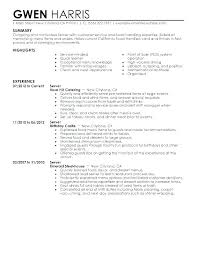 Resume For A Waitress Free Server Resume Example Server Resume