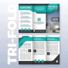 brochure template business tri fold brochure template design with turquoise color