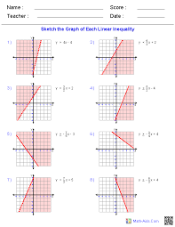 graphing linear inequalities linear equations worksheets