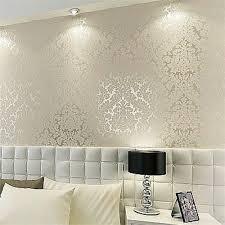 Living Room Bedroom Details About Floral Textured Damask Design Glitter Wallpaper For