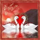 Открытка с двумя лебедями
