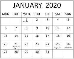 Printable Calendars 2020 With Holidays January 2020 Calendar With Holidays Usa Canada Australia