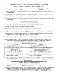 Comparison Of Evolution Mechanism Worksheet For 8th 10th