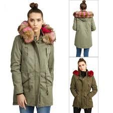 brave soul womens cotton contrasting faux fur hooded parka coats