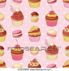 Cupcakes Macarrones Y Corazones Seamless Vector Patrón En