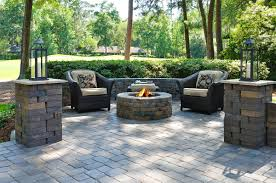 awesome paver patio floor ideas with arm chairs and outdoor fireplace for outdoor front yard ideas