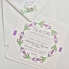 Lavender And Green Floral Bouquet Wedding Invitation