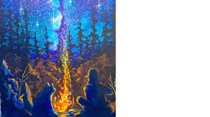 easy campfire galaxy aurora tutorial acrylic painting beginner step by step